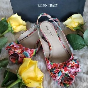 Ellen Tracy Emely Floral SlingBack Flats
